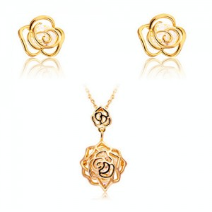 Gold Rose Necklace Earrings