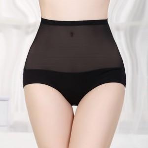 High Waist Bamboo Fabric Underwear With Gauze - Black