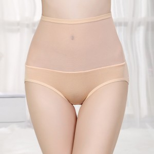 High Waist Bamboo Fabric Underwear With Gauze - Flesh