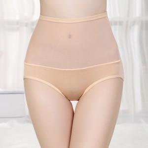 High Waist Bamboo Fabric Underwear With Gauze - Flesh